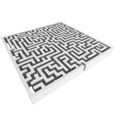 right of way: 3D Maze. Labyrinth shape design element. One entrance, one exit and one right way to go. But many paths to deadlock. Unique design element abstract render maze isolated on white background.