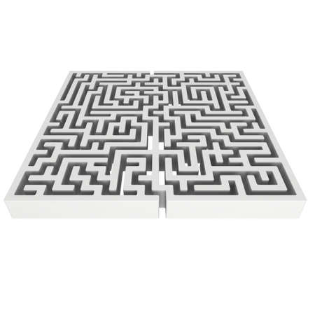 conundrum: 3D Maze. Labyrinth shape design element. One entrance, one exit and one right way to go. But many paths to deadlock. Unique design element abstract render maze isolated on white background.