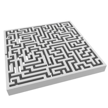 way to go: 3D Maze. Labyrinth shape design element. One entrance, one exit and one right way to go.