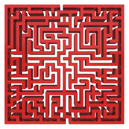 right of way: 3D Maze. Labyrinth shape design element. One entrance, one exit and one right way to go.