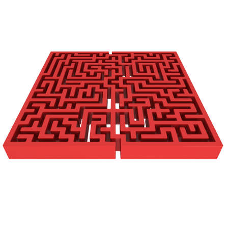 conundrum: 3D Maze. Labyrinth shape design element. One entrance, one exit and one right way to go.