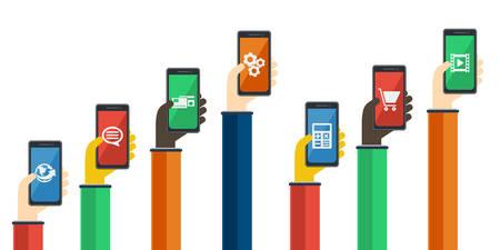 mobile apps: Smartphones in hands. Mobile apps concept.