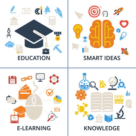 retraining: Concept Icons Education, Smart Ideas, E-learning and Knowledge sets illustration on white