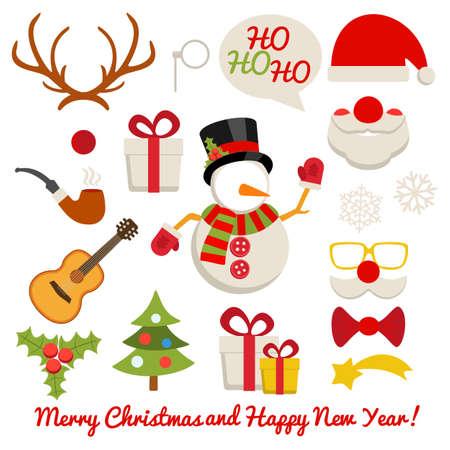クリスマス写真ブースとサンタ クロースと雪だるま鹿など白い背景のセットを予約スクラップ
