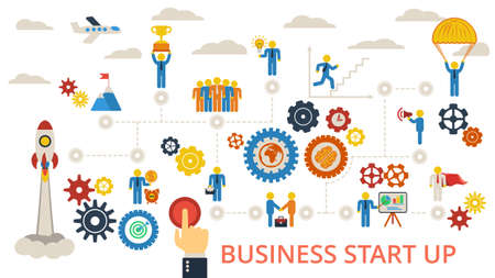 business gears: Business start up. Scheme with humans, icons and gears.