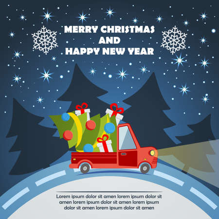 Christmas and New Year greeting card with delivery van carry a Christmas tree and gifts goes on winter road in Xmas eve.