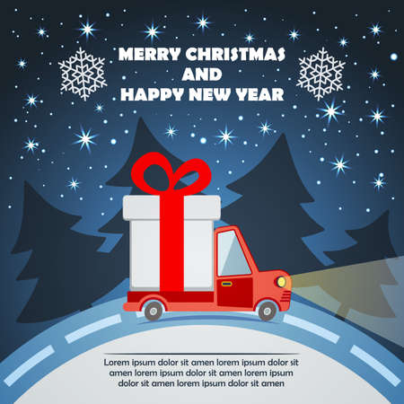Christmas and New Year Greeting Card with Gift Delivery Van goes on winter road in Xmas eve.