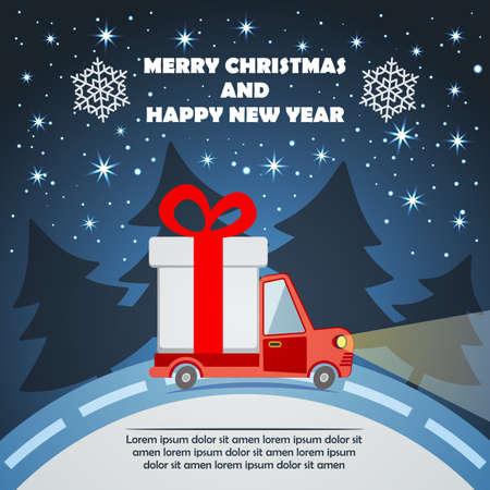 Weihnachten und Neujahr Grußkarte mit Geschenk-Lieferwagen geht auf Winter-Straße in Weihnachtsabend. Illustration