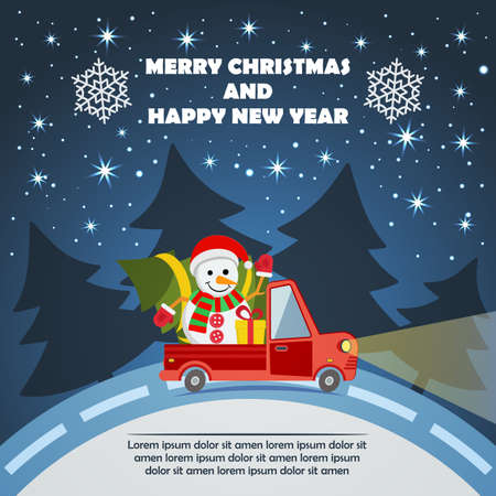 Christmas and New Year greeting card with delivery van carry snowman in Santa Claus hat and Christmas tree and gifts goes on winter road in Xmas eve.