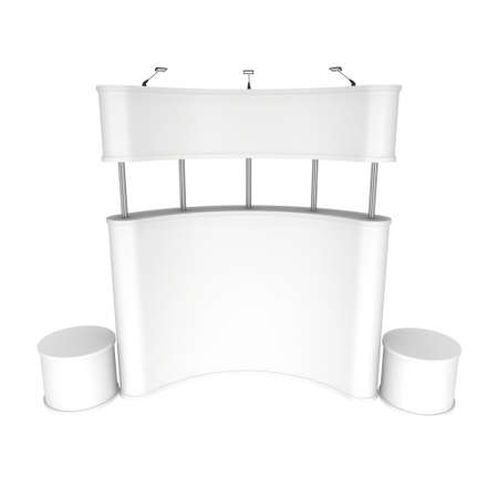 bollard: Trade show booth white and blank. 3d render isolated on white background. High Resolution Template for your design.