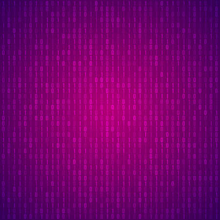 Abstract Purple Technology Background. Binary Computer Code. Programming, Coding and Hacker concept. Vector Background Illustration.
