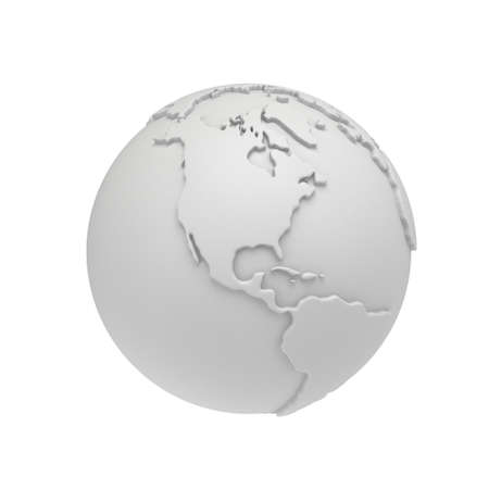 meridian: Earth planet globe white and blank 3D render. America view. On white background. Stock Photo