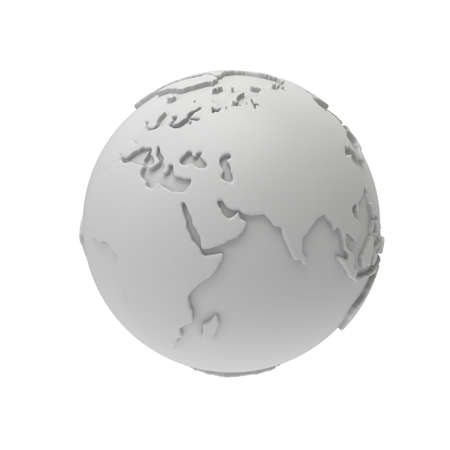 meridian: Earth planet globe white and blank 3D render. India view. On white background. Stock Photo