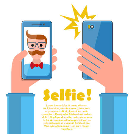 title hands: Selfie poster with hipster holding smartphone with self portrait picture vector illustration on white. Template for your design.