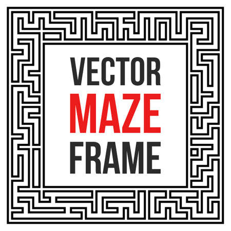 puzzle corners: Maze Frame. Vintage Maze Border. Labyrinth with Entry and Exit. Find the Way Out Concept. Vector Illustration with blank template for your text. Illustration