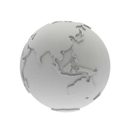 mainland: Earth planet globe white and blank 3D render. India view. On white background. Stock Photo