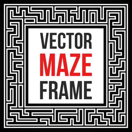 way out: Maze Frame. Vintage Maze Border. Labyrinth with Entry and Exit. Find the Way Out Concept. Vector Illustration with blank template for your text. Illustration