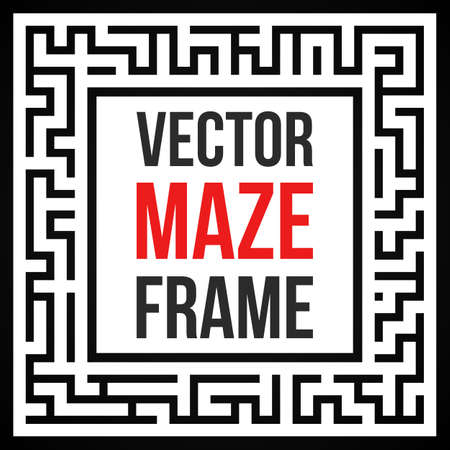 leading the way: Maze Frame. Vintage Maze Border. Labyrinth with Entry and Exit. Find the Way Out Concept. Vector Illustration with blank template for your text. Illustration