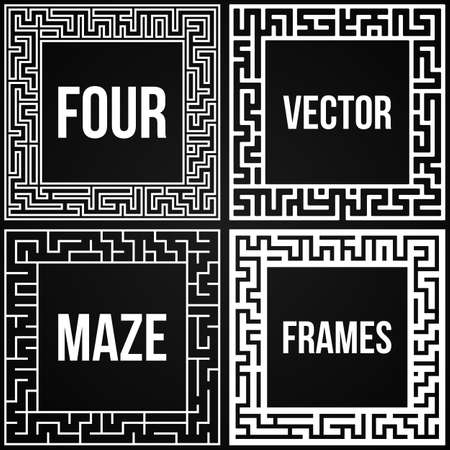 leading the way: Maze Frame Set. Vintage Maze Border. Labyrinth with Entry and Exit. Find the Way Out Concept. Vector Illustration with blank template for your text. Illustration