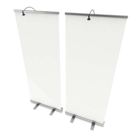 rollup: Expand Roll Up Banner. Trade show booth white and blank. 3d render isolated on white background. High Resolution Template for your design.