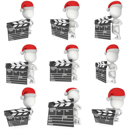 hollywood christmas: Santa with cinema clapperboard. 3D render set isolated on white. Christmas movies, films and TV broadcast Stock Photo