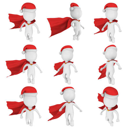 Santa Claus Brave Superhero with Red Cloak Flying. Isolated on white 3d render set.