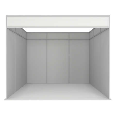 exhibitor: Trade Show Booth White and Blank. Blank Indoor Exhibition with Work Paths. 3d render isolated on white background. High Resolution Template for your design.