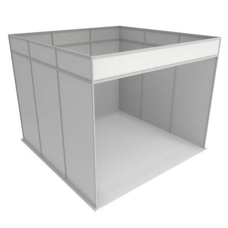 trade show: Trade Show Booth White and Blank. Blank Indoor Exhibition with Work Paths. 3d render isolated on white background. High Resolution Template for your design.