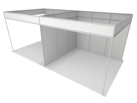 expositor: Stand de feria Blanca y blanco. Exposición cubierta en blanco con los caminos de trabajo. 3d render aislado en el fondo blanco. Plantilla de alta resolución para su diseño.