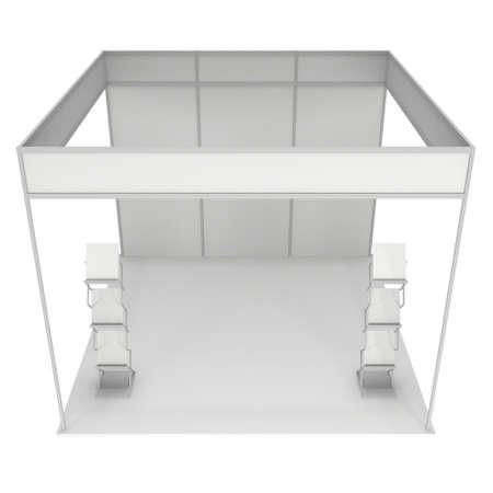 expositor: Stand de feria blanco y blanco con el Folleto de visualización. Exposición cubierta en blanco con los caminos del trabajo. 3d aislado en el fondo blanco. Plantilla de alta resolución para su diseño. Foto de archivo