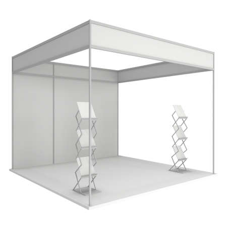 exhibitor: Trade Show Booth White and Blank with Brochure Display. Blank Indoor Exhibition with Work Paths. 3d render isolated on white background. High Resolution Template for your design. Stock Photo