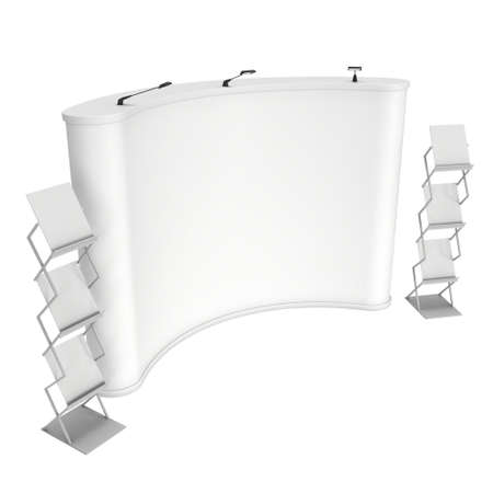 display stand: Trade show booth and brochure display stand for magazines white and blank. 3d render isolated on white background. High Resolution. Ad template for your design. Stock Photo