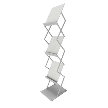 display stand: Magazine Rack. Trade show booth brochure display stand for magazines white and blank. 3d render isolated on white background. High Resolution. Ad template for your design.