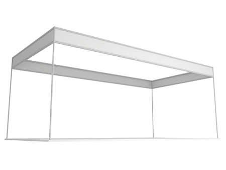 expositor: Stand de feria Caja Blanca y blanco. Exposici�n cubierta en blanco con los caminos de trabajo. 3d render aislado en el fondo blanco. Plantilla de alta resoluci�n para su dise�o.