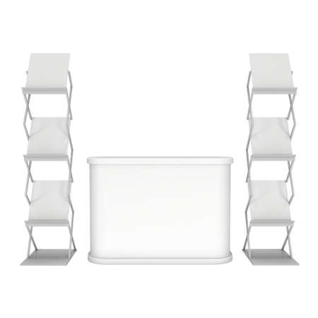 reception desk: Trade show booth reception desk and magazine rack white and blank. 3d render isolated on white background. High Resolution. Ad template for your design. Stock Photo