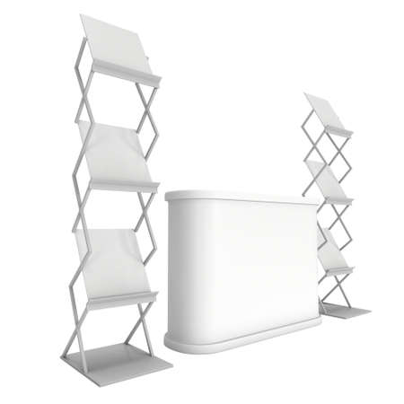 exhibitor: Trade show booth reception desk and magazine rack white and blank. 3d render isolated on white background. High Resolution. Ad template for your design. Stock Photo