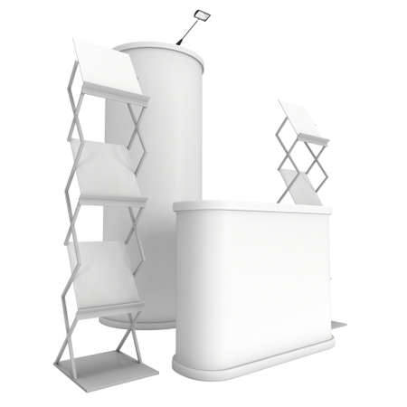 reception desk: Trade show booth reception desk, column pop up and magazine rack white and blank. 3d render isolated on white background. High Resolution. Ad template for your design. Stock Photo