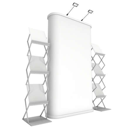 exhibitor: stand de feria pop-up y de revistas en blanco y blanco. 3d aislado en el fondo blanco. Alta resolución. Plantilla de anuncio para su diseño.