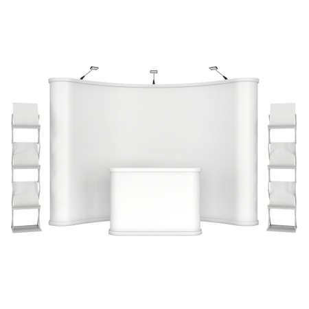 blank magazine: Trade show booth and magazine rack stand for magazines white and blank. 3d render isolated on white background. High Resolution. Ad template for your design.