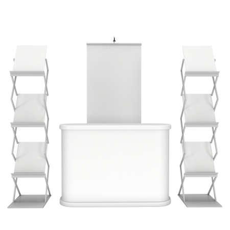 expositor: Stand de feria y de revistas representan revistas blanco y blanco. 3d aislado en el fondo blanco. Alta resoluci�n. Plantilla de anuncio para su dise�o.