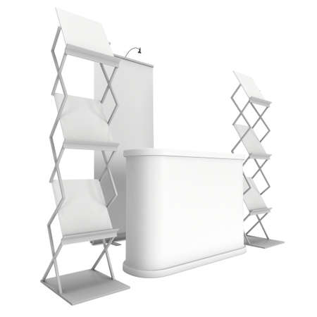 exhibitor: Trade show booth and magazine rack stand for magazines white and blank. 3d render isolated on white background. High Resolution. Ad template for your design.