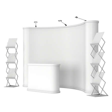 trades: Trade show booth and magazine rack stand for magazines white and blank. 3d render isolated on white background. High Resolution. Ad template for your design.