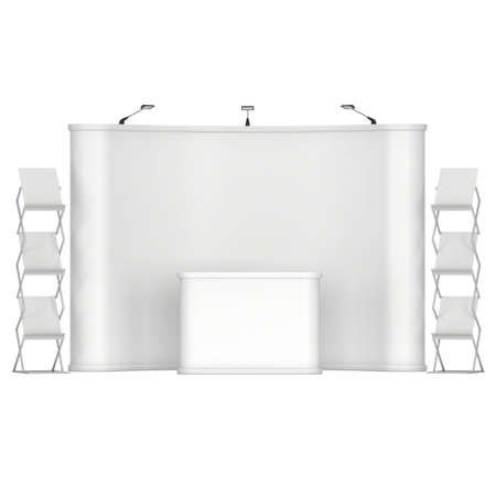 popup: Trade show booth and magazine rack stand for magazines white and blank. Stock Photo