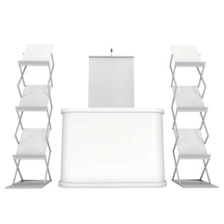 exhibitor: Stand de feria y de revistas representan revistas blanco y blanco.