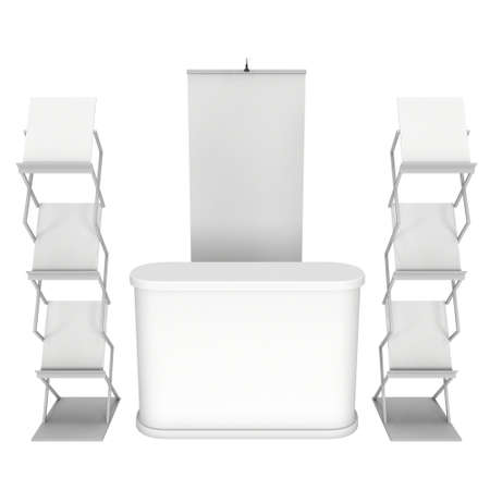 blank magazine: Trade show booth and magazine rack stand for magazines white and blank. Stock Photo