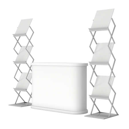 exhibitor: Trade show booth reception desk and magazine rack white and blank. 3d render isolated on white background. High Resolution. Ad template for your expo design. Stock Photo