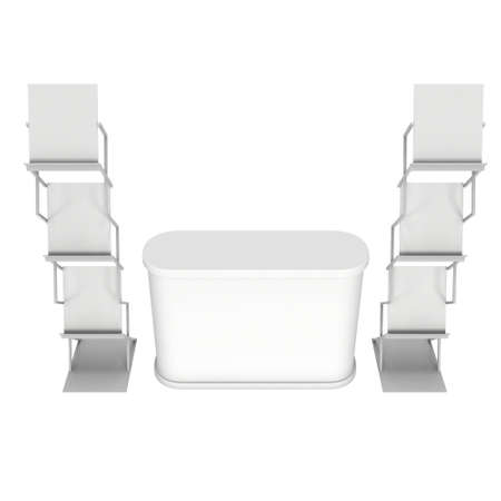 reception desk: Trade show booth reception desk and magazine rack white and blank. 3d render isolated on white background. High Resolution. Ad template for your expo design. Stock Photo