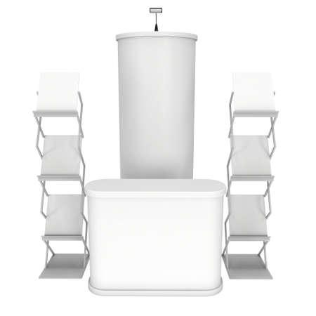 expositor: feria recepci�n stand, la columna pop-up y de revistas en blanco y blanco. 3d aislado en el fondo blanco. Alta resoluci�n. Plantilla de anuncio para su dise�o expo. Foto de archivo