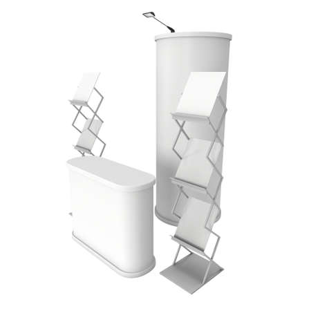 reception desk: Trade show booth reception desk, column pop up and magazine rack white and blank. 3d render isolated on white background. High Resolution. Ad template for your expo design.