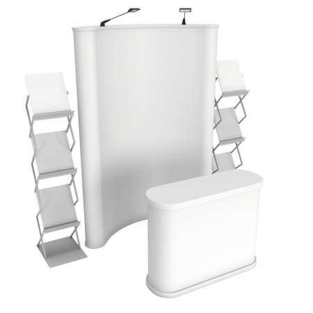 expositor: Stand de feria y de revistas representan revistas blanco y blanco. 3d aislado en el fondo blanco. Alta resolución. Plantilla de anuncio para su diseño expo.